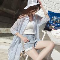 韩范长袖条纹防晒衬衫女2018夏季新款宽松衬衣开衫中长款薄款外套