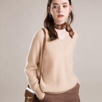 羊绒衫女v领套头毛衣短款长袖宽松厚针织秋冬新款