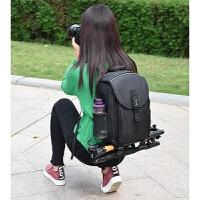 双肩摄影包大容量单反相机包背包6d/70d/800d/5d3/80D/750D 全黑+防雨罩
