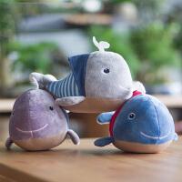 家居装饰挂件蓝白玩偶毛绒公仔小鲸鱼竹炭包毛绒玩具