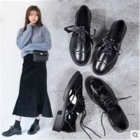 布洛克小皮鞋女秋季新款复古粗跟休闲鞋英伦风学院厚底单鞋子