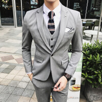 男士西装套装三件套男涤纶67%粘胶29%氨纶4%粒扣