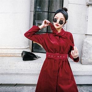 七格格衬衫连衣裙春装2018新款女韩版宽松时尚红色收腰显瘦复古中长裙子