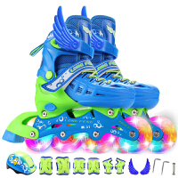 溜冰鞋儿童全套装 8轮全闪光旱冰鞋 可调伸缩轮滑鞋 男女宝宝 直排轮 小孩单排轮