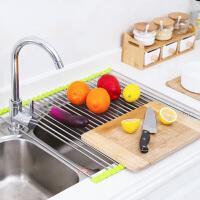 纳川不锈钢折叠沥水架可折叠厨房置物架滴水收纳架厨房沥水架/置物架水槽架碗碟架-置物架绿色(50*