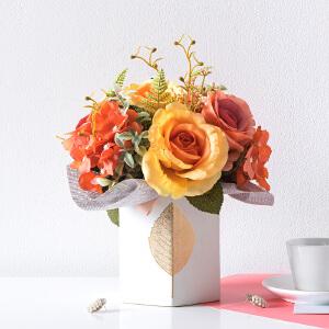 奇居良品 整体花艺客厅餐桌花艺装饰摆设 玻璃花瓶配绣球玫瑰花束3号