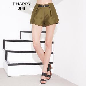 海贝秋装休闲短裤 A字高腰阔腿短裤女热裤潮