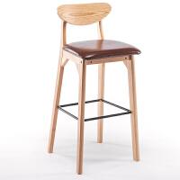 实木吧台椅子简约现代酒吧椅高凳家用靠背前台收银咖啡厅凳子创意