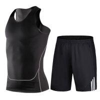 【速干衣裤 速干服】健身服套装男士速干衣透气夏季无袖背心短裤健身房跑步运动篮球服