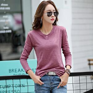 春秋新款女装纯色扣子长袖t恤女修身棉质打底衫上衣体恤女长袖