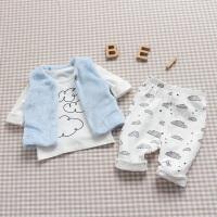 婴儿童三件套0岁5个月新生儿衣服休闲冬装宝宝爬服春季新年
