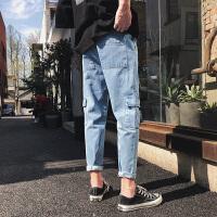 夏季新款男士个性哈伦牛仔裤港风潮裤子多口袋休闲九分裤