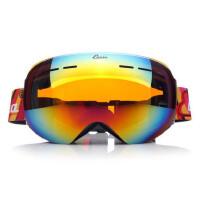 户外滑雪眼镜成人双层防雾球面大视野雪地护目镜可卡近视