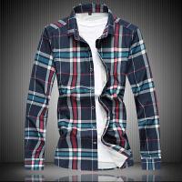 秋季休闲格纹长袖衬衫男士加肥加大码韩版修身胖子衬衣青年5X6X7X