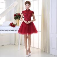 新娘敬酒晚礼服2016秋冬新款短款修身显瘦韩版酒红色伴娘礼服
