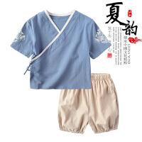 宝宝汉服童装夏装棉麻中国风表演男童唐装儿童套装女童周岁礼衣服