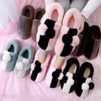 韩版女士可爱毛毛拖鞋居家月子鞋 室内男厚底保暖包跟棉拖鞋大码