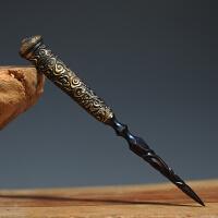 龙泉花纹钢纯手工普洱茶刀专用大马士革古马茶刀茶道配件茶针茶锥
