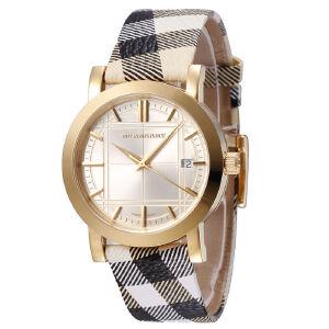 巴宝莉(BURBERRY)手表休闲皮表带日历圆盘视窗情侣对表BU1399女款  BU1398男款