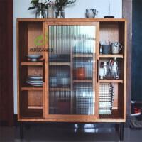 北欧实木餐边柜简约现代储物柜茶水柜创意收纳柜玻璃移门厨房碗柜 双门