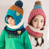 儿童帽子围巾手套三件套围脖保暖套装一体男女童宝宝护耳帽子