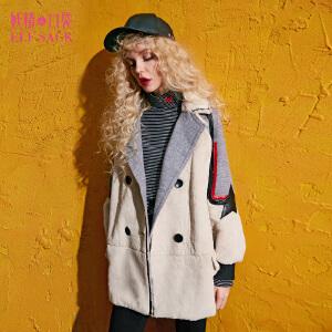 妖精的口袋暗色温柔冬装新拼接翻领中长款毛呢大衣外套女