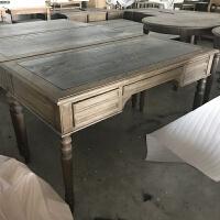 出口轻奢风美式书桌实木复古橡木写字台桌欧式法式乡村做旧电脑桌 否