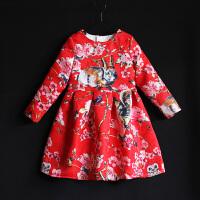 2018女童装秋冬季长袖百褶连衣裙宝宝儿童红色公主裙母女装亲子装