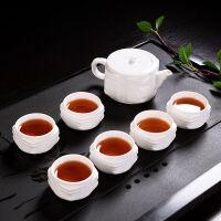 功夫茶具套装家用整套简约陶玉瓷浮雕泡茶壶茶杯陶瓷茶道配件杯子