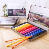 得力水溶性彩色铅笔铁盒装36色48色72色秘密花园填色笔油性彩铅高级彩铅填色画画学生礼物绘画素描礼品