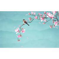 新中式手绘玉兰花鸟电视背景墙壁纸简约墙布客厅卧室影视墙纸壁画