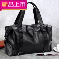 男士手提包旅行包短途旅游出差休闲大容量单肩斜挎健身行李袋皮包 黑色《有》 大