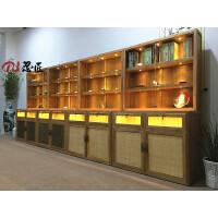 实木玻璃展柜珠宝首饰展示柜老榆木免漆瓷器展架中式货架定制家具 120/55/200CM 原木色