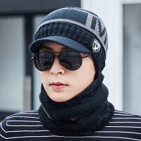 时尚帽子男冬季韩版加绒加厚毛线帽男士冬天户外骑行保暖防风针织棉帽