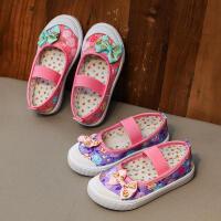 秋季中小童帆布鞋宝宝松紧鞋小女孩公主布鞋1-3-6岁