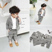 春装儿童西装套装男童小童格纹外套裤子两件套潮