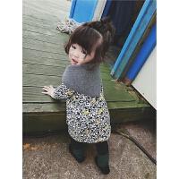 儿童加厚连衣裙2017冬装新款韩版加棉碎花公主裙女宝宝时尚裙子
