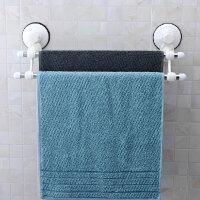 双庆 1883真空吸盘式毛巾架 不锈钢双杆浴巾架 浴室毛巾杆挂杆