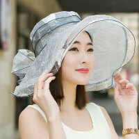 帽子女韩版潮仿真丝绡帽子桑蚕丝太阳帽可折叠大沿出游遮阳帽