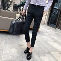夏装纯色个性刺绣小脚九分裤男休闲裤韩版绅士修身西装裤时尚潮流