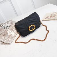 包包女菱格链条小包2018新款车缝线金属锁扣单肩包波浪纹迷你女包