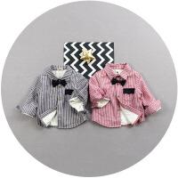 男童立领衬衫秋冬季宝宝加绒加厚长袖1一2-3岁韩版婴幼儿保暖衬衣