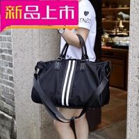 帆布旅行包手提大容量旅行袋单肩旅游出差包健身包大包韩潮轻便 黑色 大
