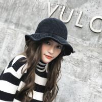 日系潮软妹渔夫帽 韩版保暖针织盆帽女 新款百搭英伦毛线帽子