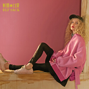 妖精的口袋立体想象力冬装新款宽松棒球毛呢中长款外套女