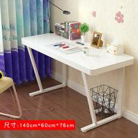 钢化玻璃电脑桌台式家用笔记本简约现代书桌办公桌子 1.4米 白色钢化玻璃面