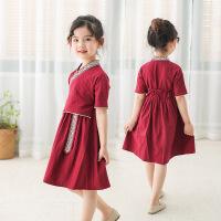 女童汉服民国风襦裙套装儿童唐装夏装童装小女孩改良古装女孩汉服 红色