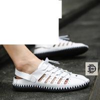 镂空鞋男鞋皮面洞洞鞋夏季男士休闲皮鞋凉鞋男士透气鞋子松紧系带包头半拖--3