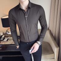 纹衬衫男长袖修身韩版青年帅气商务暗条纹衬衣发型师寸衣