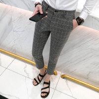 夏季新款男士绅士风经典格纹七分西裤帅气修身小脚休闲裤